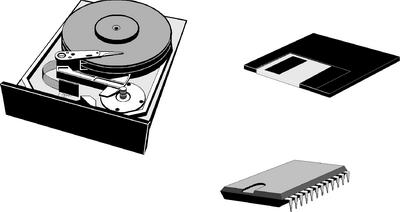 Grafik von Festplatte, Diskette und Arbeitsspeicher