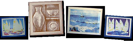 Callage von vier Wandbildern im Monica Isabel Beach Club in Albufeira
