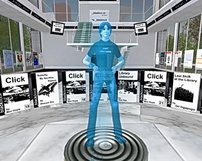 Ein Hologramm begruesst den Besucher