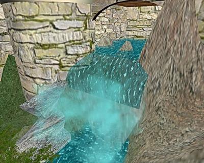 Ein Wasserfalll in der Außenansicht