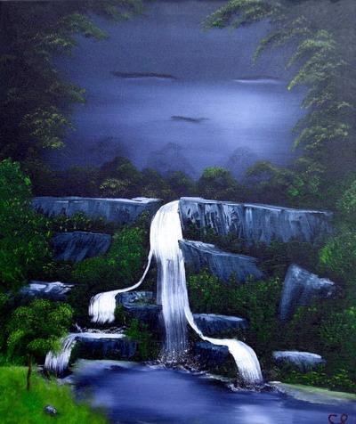 """Das fertige Ölbild """"Der Wasserfall"""""""