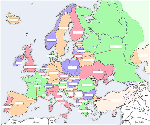 Leere vorlage einer europakarte