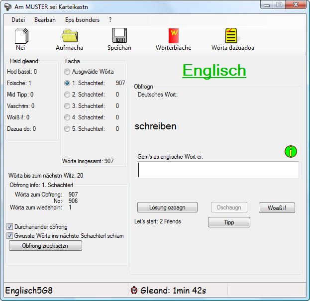 Englisch lernen mit dem Karteikasten in bayrisch