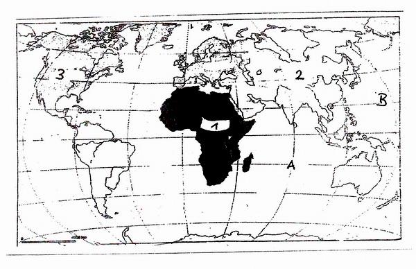 Weltkarte zu Aufgabe 1