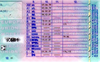 Rückseite des Euro-Scheckkarten-Führerscheins