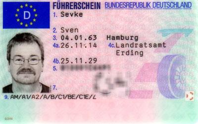 Vorderseite des Euro-Scheckkarten-Führerscheins