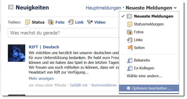 Screenshot: Facebook - Optionen für Neueste Nachrichten
