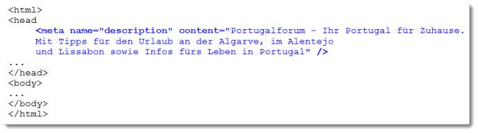 HTML-Code für die Seitenbeschreibung