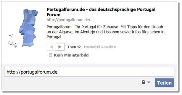 Das Portugalforum als Link in Facebook