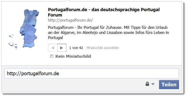 Das Portugalforum als Link in Facebook