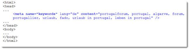 HTML-Code für den Meta-Tag Keywords
