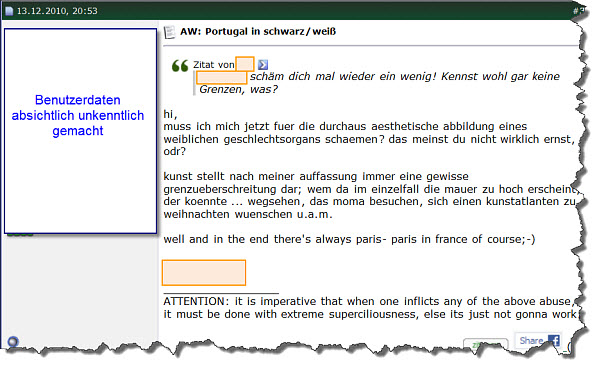 Portugalforum - Screenshot eines Beitrags