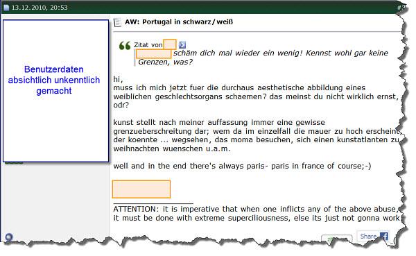 Portugalforum - Screenshot eines Beitrags