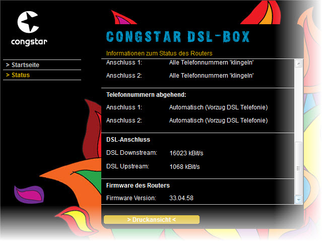 Screenshot der Congstar DSL-Box - Synchronisierung