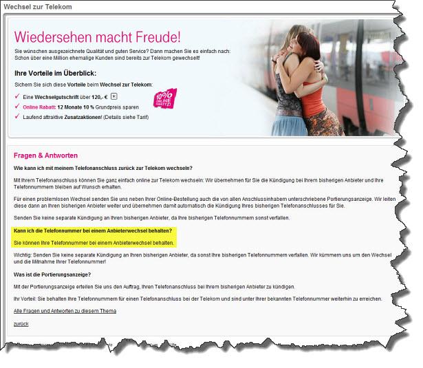 Screenshot von der Telekom Webseite zum Anbieterwechsel