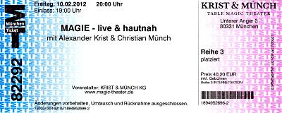 Eintrittskarte für das Table Magic Theater Krist & Münch