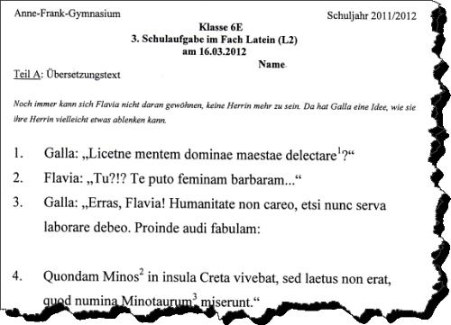 Ausriss aus einer Latein Schulaufgabe in einer 6. Klasse