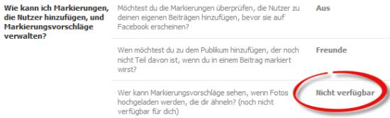 Screenshot: Facebook Gesichtserkennung nicht verfügbar