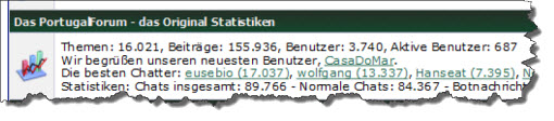 Screenshot der PFo Statistik