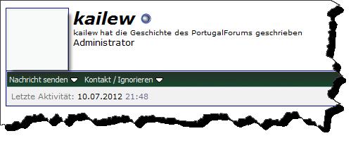 Screenshot mit der letzten Aktivität des Betreibers im Portugalforum.org