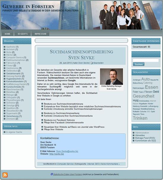 Screenshot des Gewerbe-Portals von Forstern