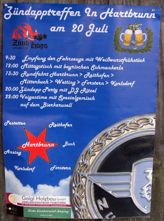 Foto des Plakats zum Zündapp Treffen in Hartbrunn