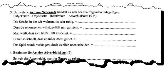 Ausriss aus einer Deutsch Stegreifaufgabe