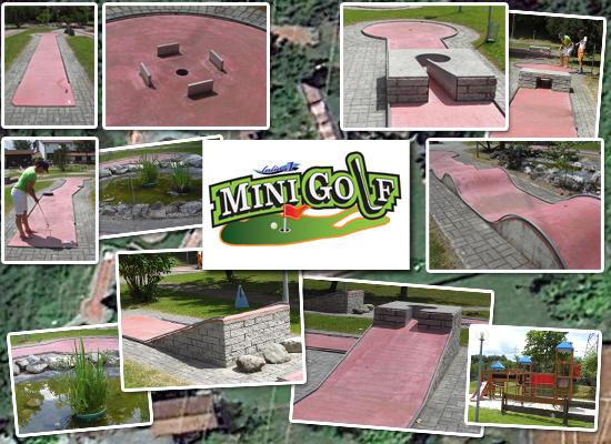 Collage von mehreren Impressionen vom Minigolf Platz in Neufinsing