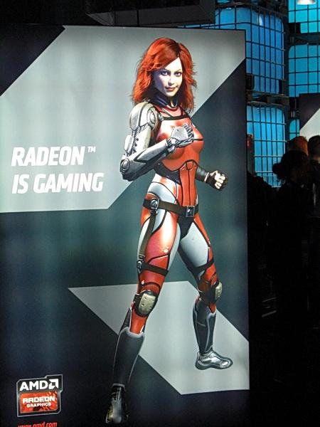 Plakat einer weiblichen Darstellering am AMD Stand