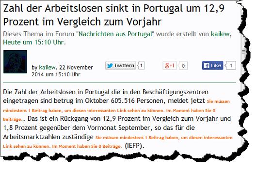 Screenshot eines verkrüppelten externen Links im portugalforum.org