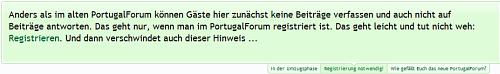 Screenshot eines Anti-Gäste-Hinweises im portugalforum.org