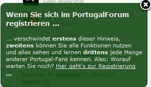 Screenshot: PFo Nötigung zur Registrierung