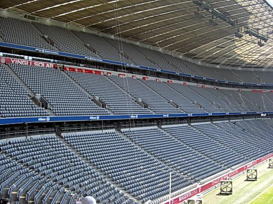 Foto von den leeren Rängen in der Allianz Arena