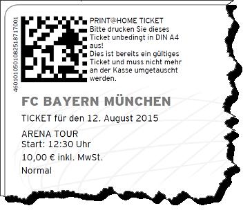 Ausriss von einem Ticket für die Arena Tour