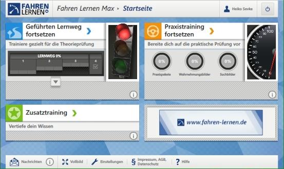 Der Startbildschirm dses Online-Lernprogramms