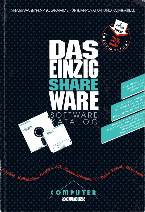 """Buchcover des Software Katalogs """"Das Einzig Shareware"""" von 1992"""