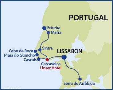 Mini-Landkarte der Gegend um Lissabon