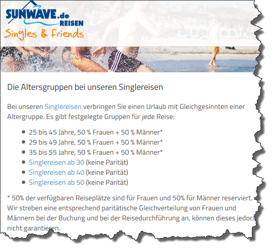 Screenshot der Altersgruppen bei Sunwave