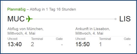 Screenshot einer Google Suche nach dem Terminal meines Flugs