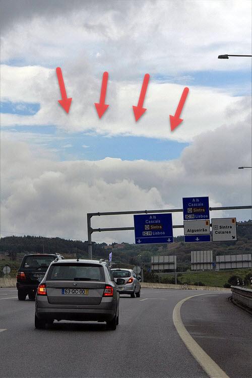Beweisfoto für ein Stück blauen Himmels auf dem Weg nach Cascais