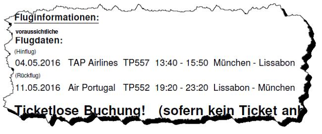 Screenshot der Fluginformationen meiner Lissabon-Reise