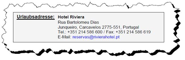 Screenshot der Urlaubsadresse (Hotel Riviera)