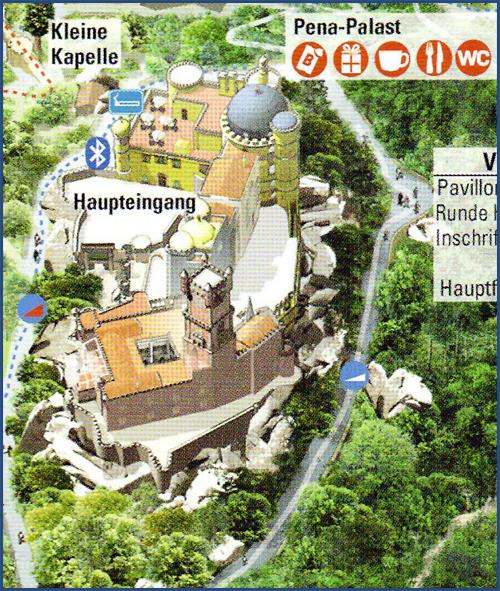 vergrößerter Ausschnitt vom Übersichtsplan, der den Palast zeigt