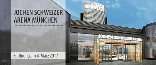 Bild des Eingangs zur Jochen Schweizer Arena in München