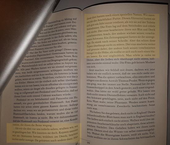 Abfotografierter Ausschnitt von Seite 98 und 99