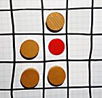 Eine Zelle mit vier Nachbarzellen.