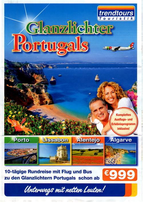 FLyer Titelseite zur Reise Glanzlichter Portugals