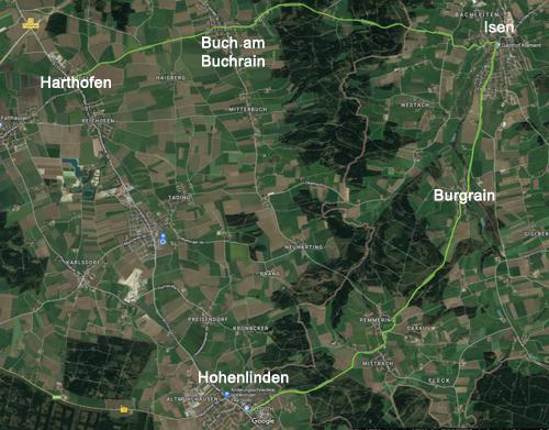 Teststrecke Harthofen - Buch am Buchrain - Isen - Burgrain - Hohenlinden