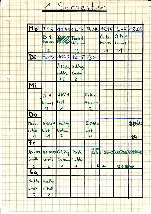 Sundenplan für das Fach Technische Informatik an der Fachhochschule Wedel im Jahr 1983