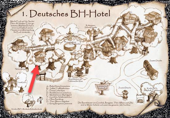Übersichtsplan des Baumhaushotels in Turisede